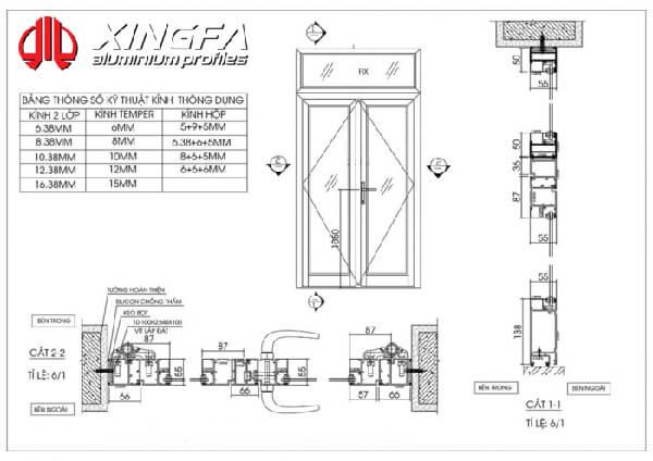 Bản vẽ cửa nhôm Xingfa mở quay 2 cánh hệ 55.