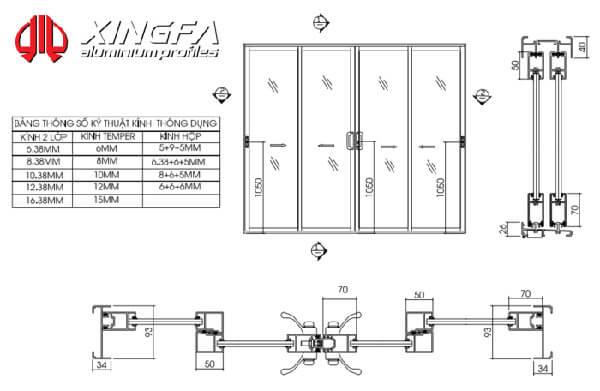 Bản vẽ cửa lùa nhôm Xingfa hệ 93 lùa 3 ray 3 cánh.