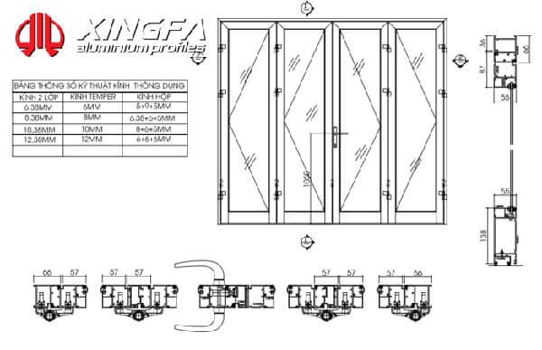 Bản vẽ cửa nhôm Xingfa mở quay 4 cánh hệ 55.