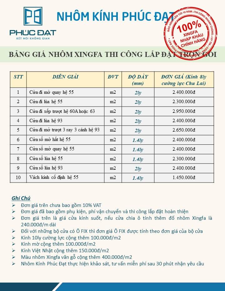 Bảng báo giá cửa nhôm Xingfa nhập khẩu chính hãng 100% giá tốt 2021 - Nhôm Kính Phúc Đạt