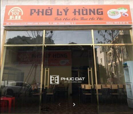 Công trình cửa kính khung inox mạ vàng quán phở Lý Hùng Quận 2, TP.Thủ Đức